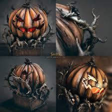 smirk guild wars 2 inspired halloween pumpkin lamp prop replica