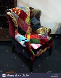 Patchwork Upholstered Furniture - patchwork upholstered wing chair on sale at the antique