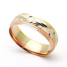 wedding band for accent 14k tri color gold 6mm diamond cut wedding band