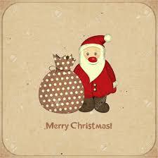 retro christmas cards retro christmas cards with santa and bag with gifts