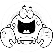 cartoon little crab happy black and white line art by cory