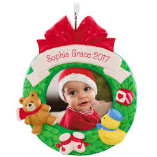 baby u0027s first christmas personalized photo frame ornament
