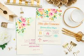 Holy Communion Invitation Cards Samples Floral First Communion Invitation Floral Baptism Invite
