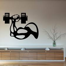 wall decals sport people bodybuilder man u0027s hand with dumbbell gym
