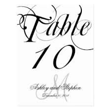 wedding table number postcards zazzle