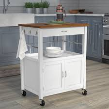 andover mills guss kitchen island cart with butcher block