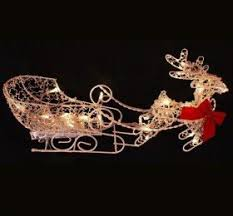 Christmas Outdoor Decor Holographic Santa Sleigh Deer by Outdoor Lighted Reindeer And Sleigh 44360 Astonbkk Com
