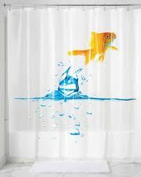Clear Vinyl Shower Curtains Designs Finn Goldfish Peva Shower Curtain Curtainshop
