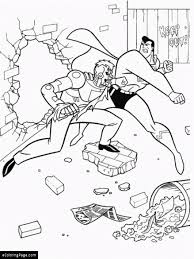 superman fights the bad guy coloring page printable