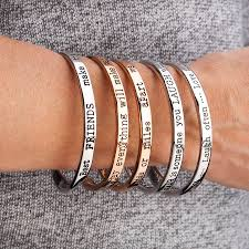 live laugh love message silver bangle by lauryn james