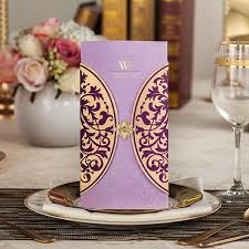 Cheap Save The Date Violet Theme Wedding Invitation Card Pocket Free Personalized