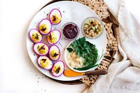passover plate foods vegetarian passover seder plate with beet pickled deviled eggs