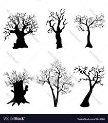 black halloween tree set of halloween trees with bats spiders and owl vector image