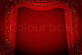 red curtains light background with glittering stars open curtains