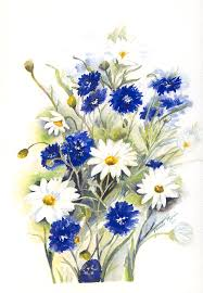blue and white painting blue and white flowers painting by pamela morris