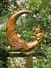 moon wood carving carved wall sculpture woodcarving by