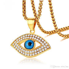 blue stainless steel necklace images Wholesale trendy evil blue eye pendant necklace gold color aaa cz jpg