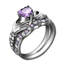 purple diamond engagement rings 925 sterling silver purple diamond claddagh engagement ring