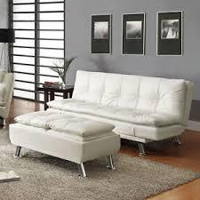 contemporary white faux leather pillow top seating futon sleeper