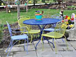 Vintage Metal Outdoor Furniture Patio 1 Metal Chair Blue 1950s Retro Metal Lawn Patio Chair