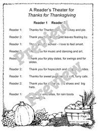 for thanksgiving by julie markes a thanksgiving reader s theater