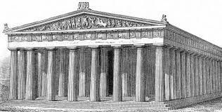 a drawing of what the parthenon might have looked like which face