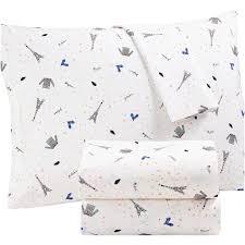 percale sheet set martha stewart collection whim paris print cotton percale sheet