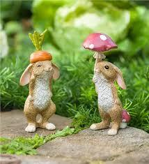 rabbit garden veggie rabbit garden figures set of 2 garden statues