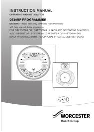 Radio Frequency Ac Thermostat Product Manuals Worcester Bosch Dt20rf Programmer Page 25
