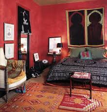 Red Feature Wall In Bedroom Red Wall Bohemian Bed Decor With Grey Bed On The Orange Carpet