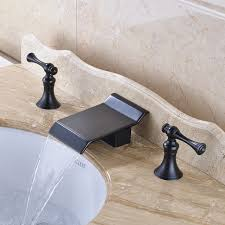 deck mounted traditional bathroom sink faucet widespread 3pcs