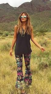 hippie style fall colors 70 s amazing print flare pants boho chic