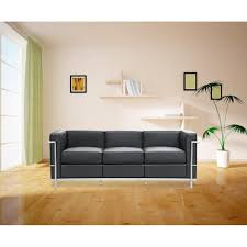 Cube Sofa Bed by Cube Le Corbusier Lc2 Style Petit Sofa Black Leather Mid Mod
