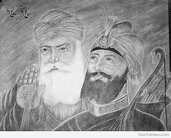 pencil sketch of sri guru nanak dev ji and sri guru gobind singh