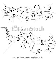 vector illustration of music notes on staff various music notes