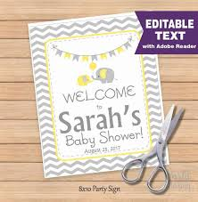 baby shower sign editable elephant baby shower welcome sign baby shower sign diy