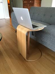 Laptop Side Table Cute Wooden C Shape Side Table With Laptop Feat Grey Couch Of