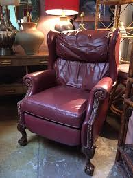 blissful blessing vintage burgundy leather wing chair recliner
