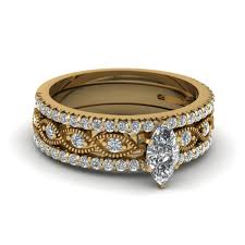 bridal gold ring marquise cut milgrain diamond bridal sets in 14k yellow gold