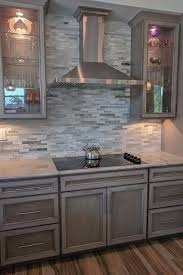 gray stained kitchen cupboards glass doors frame this sleek cooktop and featuring our