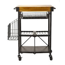 folding kitchen cart with extra baskets 5191722 the home depot