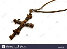 iron cross made from nails on a white background stock photo