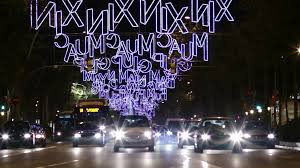 barcelona christmas decorative led lights on facade decorative