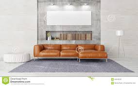 modern sofa mock up poster in contemporary living room stock