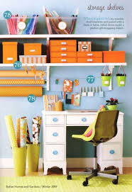 Craft Room Storage Furniture - craft desk storage ideas light blue wall paint color white metal