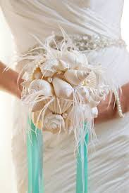 wedding bouquets with seashells feather fans for weddings feather bouquet with seashells