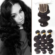 short hairstyles with closures malaysian body wave 3 bundles with closure 7a grad human weave hair