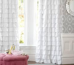 White Darkening Curtains Ruffle Blackout Panel Pottery Barn