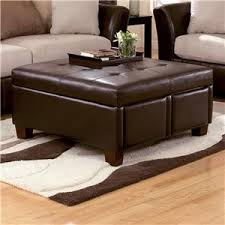durahide bicast brown square tufted faux leather ottoman with 4