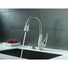 delta fuse two tone lead free single handle pull out kitchen faucet